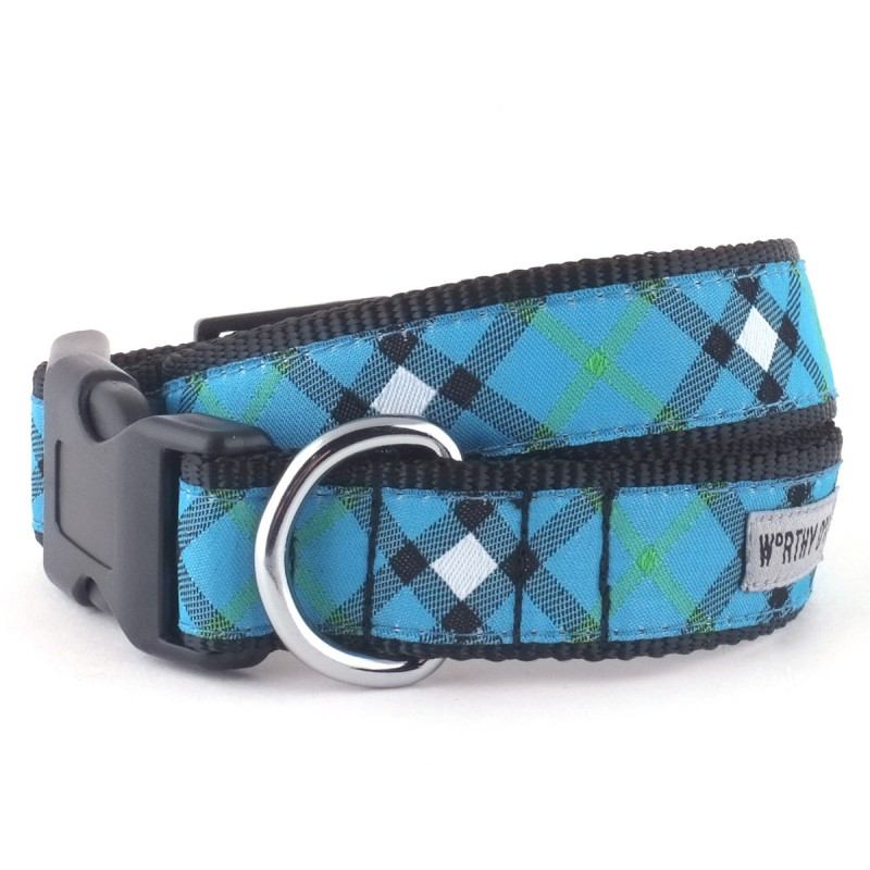 Collar-Bias Plaid Blue