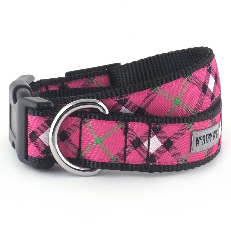 Collar-Bias Plaid Hot Pink