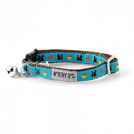 Cat Collar-Squirrelly  Teal 8-12