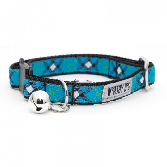"Cat Collar-Bias Plaid Blue  Blue 8""–12"""