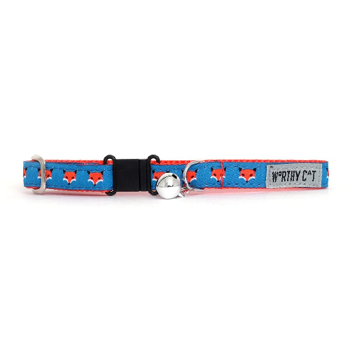 Cat Collar-Foxy  Navy 8-12