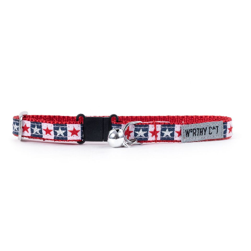 Cat Collar-Stars and Stripes  Navy 8-12