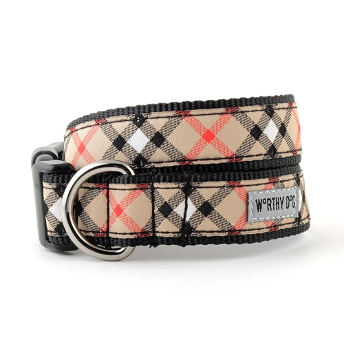 Collar-Bias Plaid Tan