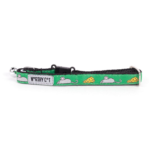 Cat Collar-Mouse and Cheese  Green 8-10