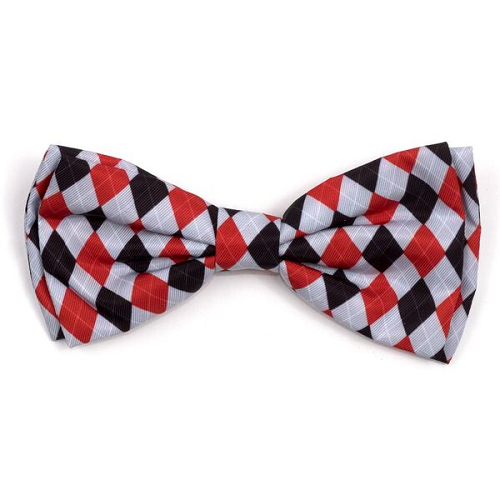 Bowtie-Preppy Argyle Red/Gray