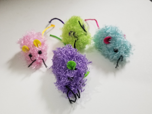 Cat Toys-Chenille Mice Bulk Asst