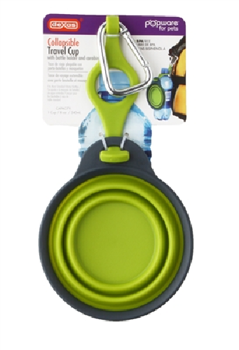 Collapsible Travel Bowl W/Bottle Holder  Green
