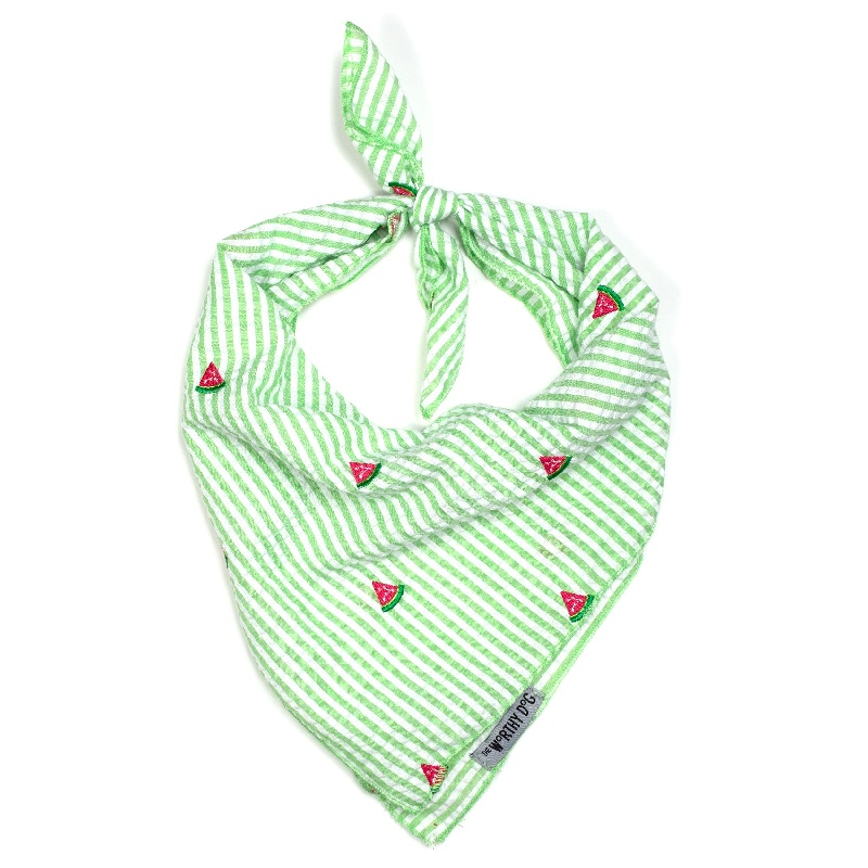 Bandana-Green Stripe Watermelon (Tie)*