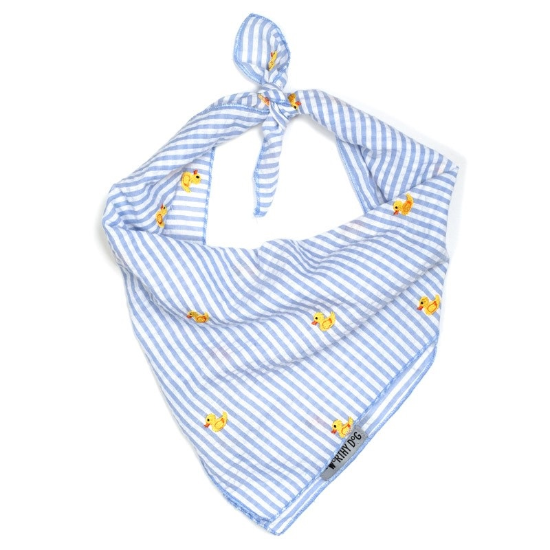 Bandana-Lt.Blue Stripe Rubber Ducks  (Tie)*