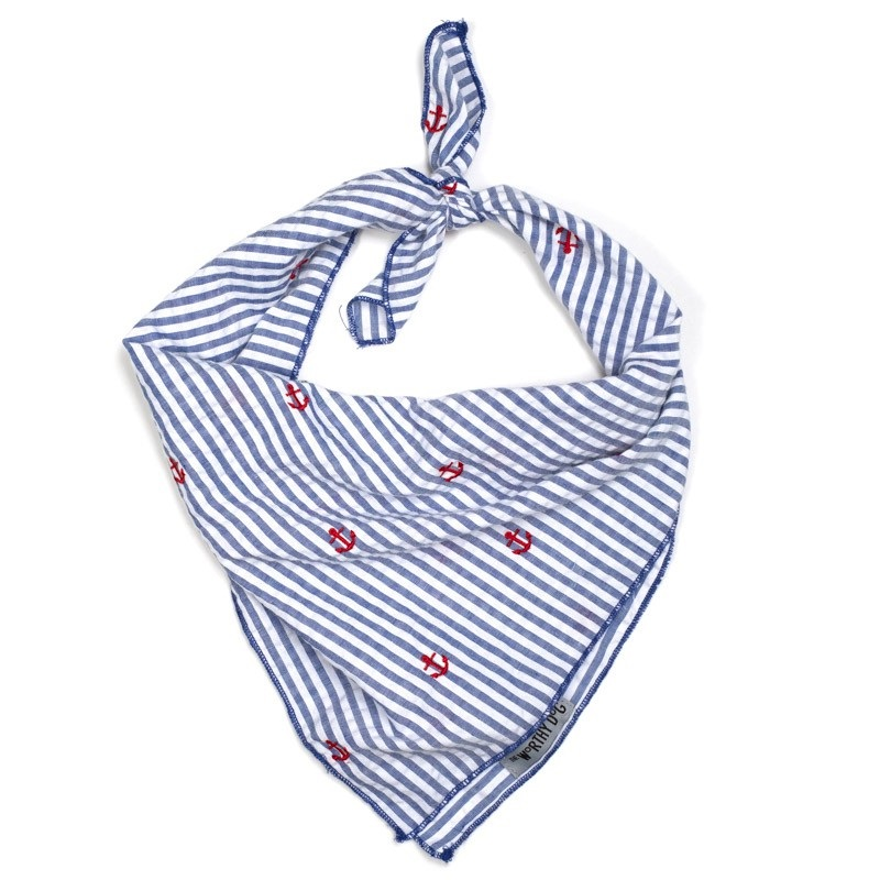 Bandana-Navy Stripe Anchors (Tie)*
