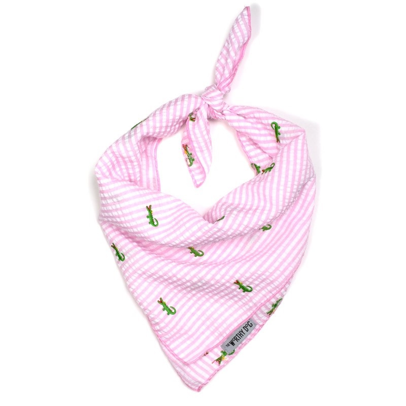 Bandana-Pink Stripe Alligators (Tie)*
