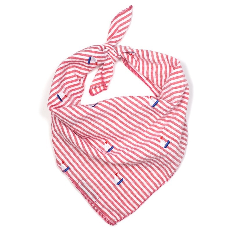 Bandana-Red Stripe Sailboats (Tie)*