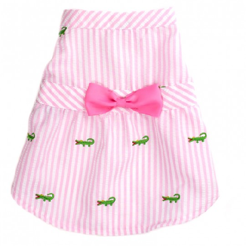 Dress-Pink Stripe Alligator*