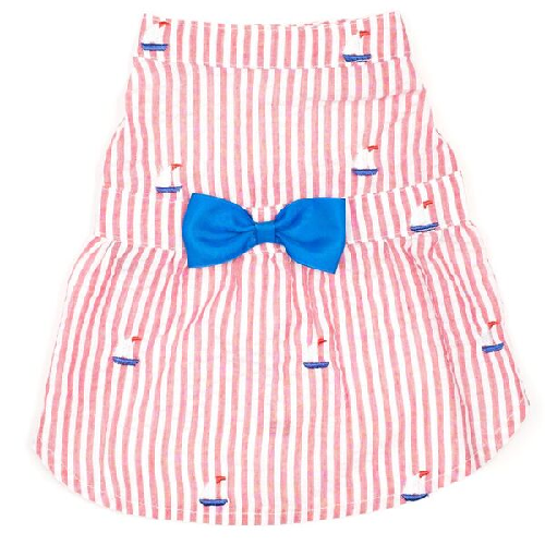 Dress-Red Stripe Sailboats*