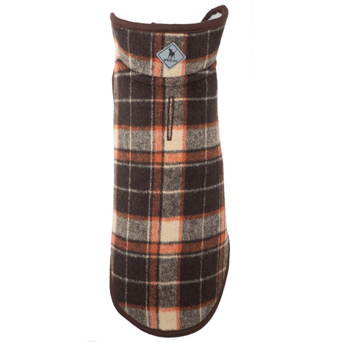 Alpine Fleece-Brown/Orange Plaid