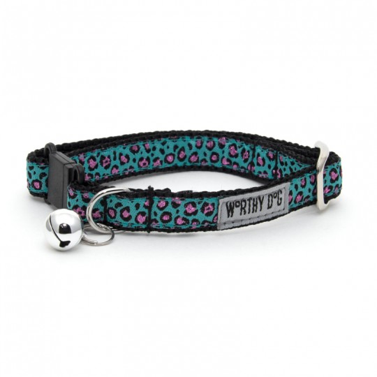 Cat Collar-Cheetah Teal*  Teal 8-10