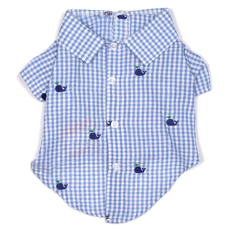 Shirt-Gingham Whales*