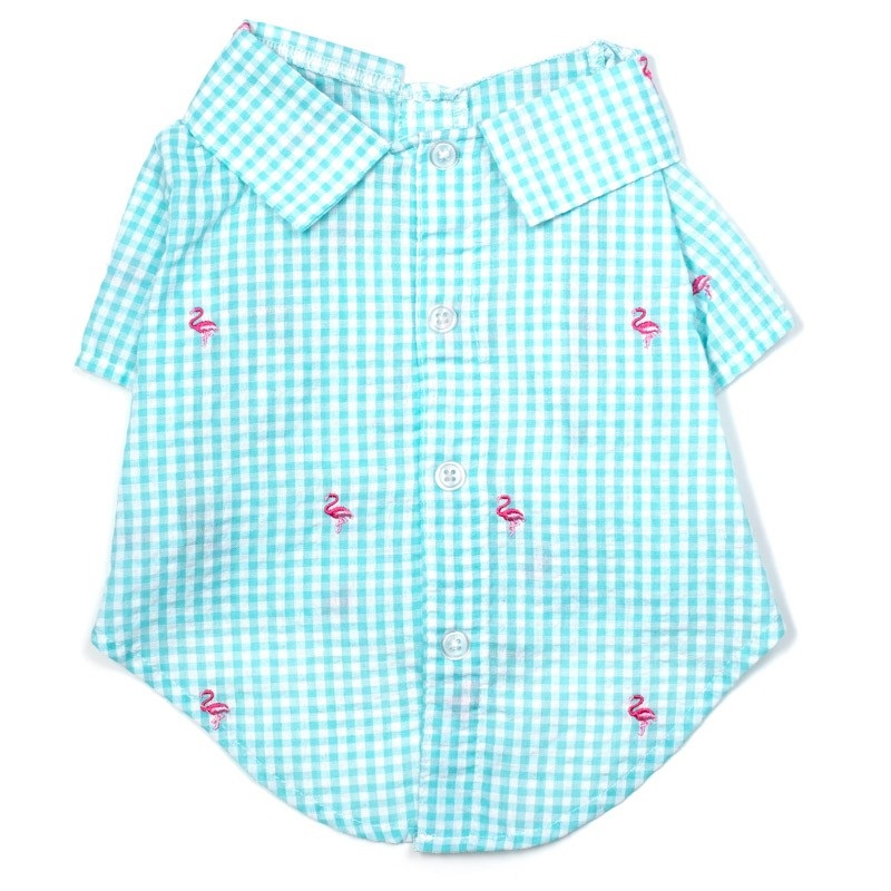 Shirt-Gingham Flamingos*