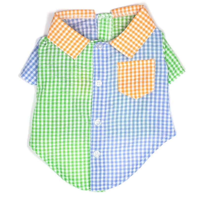 Shirt-Gingham Colorblock*