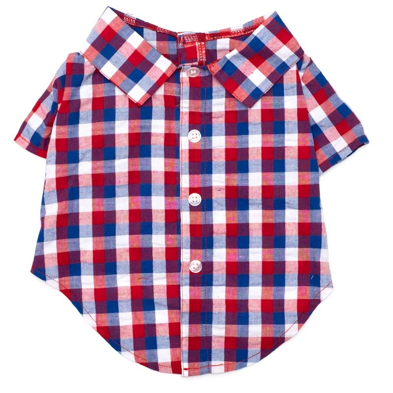 Shirt-Red White Blue Check*