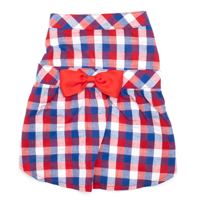 Dress-Red White Blue Check