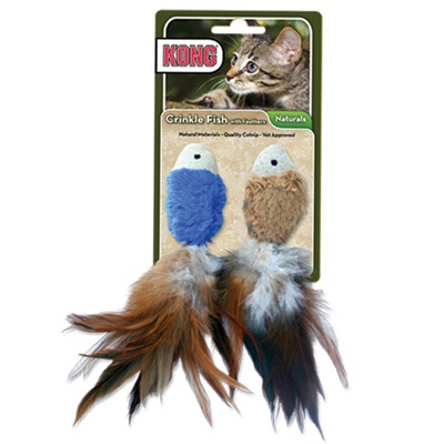 Cat Toys-Kong Crinkle Fish  Multi 2pk