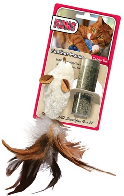 Cat Toys-Kong Refillable Feather Mouse  Asst