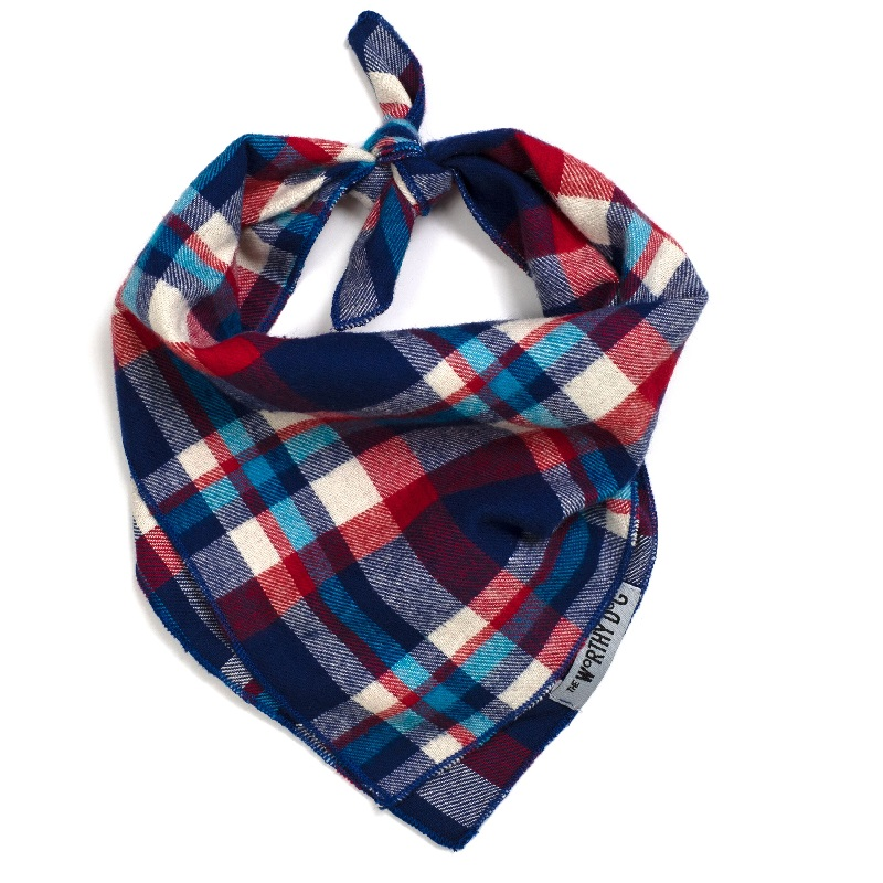 Bandana-Navy Red Turq Plaid (Tie)