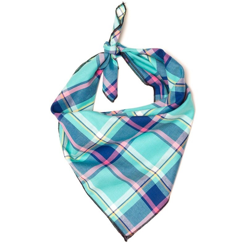 Bandana-Aqua/Navy Plaid (Tie)