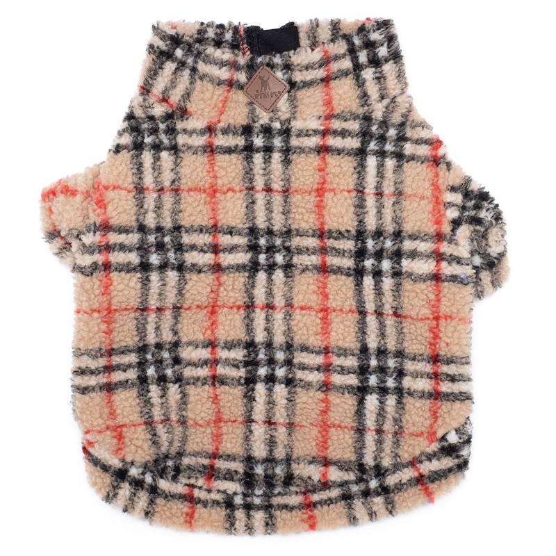 Pullover-Sherpa 1/4 Zip Fleece Tan Plaid