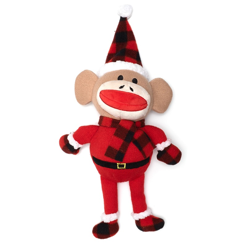 WD Buffalo Toy-Holiday Sock Monkey Santa  Red Reg